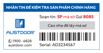 Mẫu tem bảo hành điện tử sms của Austdoor Group